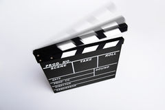 Empty directors board or clapboard with moving clapper. Empty clapboard with clapper in motion, directors item as used in motion pictures Stock Images