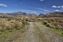 Empty Road Ireland 0004. Empty dirt road in County Kerry on the west coast of Ireland Royalty Free Stock Images