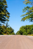 Empty dirt road rising against trees and sky Stock Image