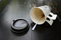Empty dirty coffee cup Stock Images