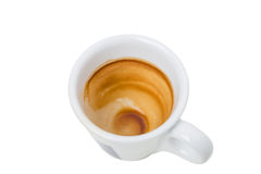 Empty and dirty espresso cup. Royalty Free Stock Photography