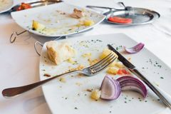 Dirty plate after a lunch Royalty Free Stock Photos