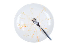 Empty and dirty plate, on white background. Empty and dirty plate, with leftovers, isolated on white background Stock Photography