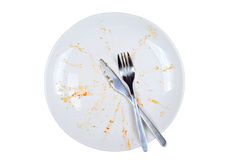 Empty and dirty plate, on white background. Empty and dirty plate, with leftovers, isolated on white background Royalty Free Stock Image