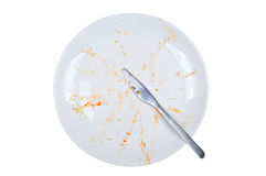 Empty and dirty plate, on white background. Empty and dirty plate, with leftovers, isolated on white background Stock Image