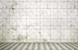 Empty dirty room in grunge style. Tiled room. 3d illustration Royalty Free Stock Photo