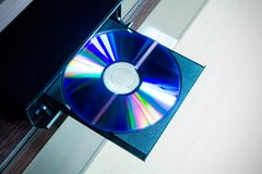 Disc insterted to DVD or CD player Royalty Free Stock Photos