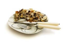 Empty dish of clams and cockles shellfish Royalty Free Stock Image