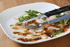 Empty dish after food. Steak Stock Photography