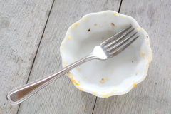 Empty dish with fork Royalty Free Stock Images