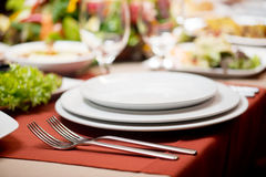 Empty dish set on a table Royalty Free Stock Image