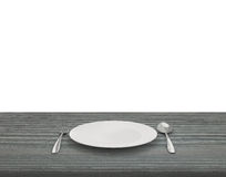 Empty Dish On Table  On Isolated White Background Royalty Free Stock Image