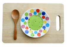 Empty dish on wooden plate isolate with clipping path Royalty Free Stock Images