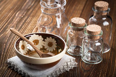 Empty dishes on wooden table Stock Photos