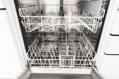 Empty dishwasher Royalty Free Stock Image