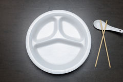 Empty disposable plastic plate on black table Royalty Free Stock Photography & Disposable Plastic Plate With Three Sections Stock Illustration ...