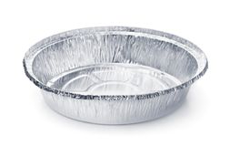 Empty disposable round aluminium food foil container royalty free stock photos