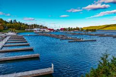 Empty docks in blue waters Royalty Free Stock Photo