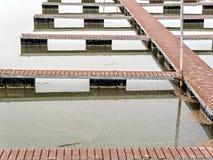Empty docks at a marina. Low water levels, boat docks are empty royalty free stock photos