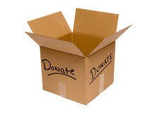 Empty Donation Box Isolated. Big empty cardboard box with the words 'Donate Royalty Free Stock Photos