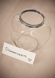 Empty Donation Jar. Concept Image of Greed Stock Images