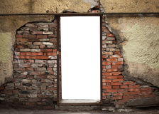 Empty doorway in old weathered brick wall Royalty Free Stock Images