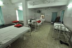 Empty dormitory in a clinic in Bihar, India.  Stock Photos