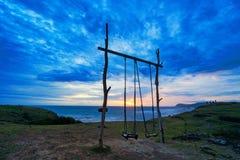 Empty double swing stock photo