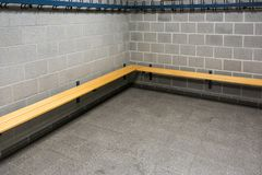Empty dressing room in a sports hall stock images