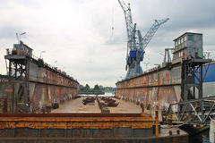 Empty dry dock at the shipyard Royalty Free Stock Photography