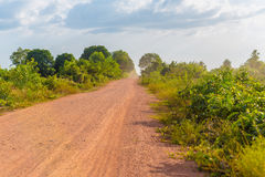 Empty dusty dirt road. In rural Cambodia in Kampot province Royalty Free Stock Images