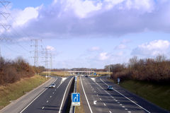 Almost empty dutch highway. Enschede, near the german border Royalty Free Stock Image