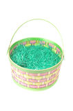 Empty Easter basket with green grass on white Royalty Free Stock Image