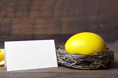 Empty Easter card and egg in the nest Stock Image