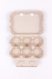 Empty egg carton. On white Stock Photo