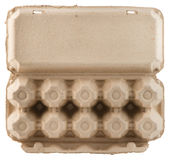 Empty egg carton bottom view isolated Stock Images