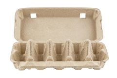Empty egg carton, box, tray or container isolated on white royalty free stock image