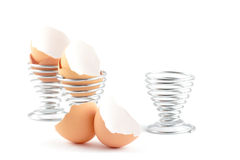 Empty Egg Shells and Egg Cups Stock Image