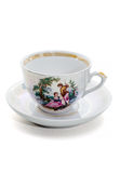 Empty elegant coffee cup on a saucer. Royalty Free Stock Photography
