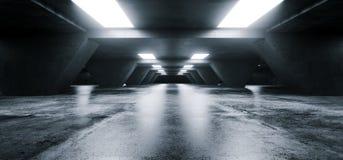 Empty Elegant Modern Grunge Dark Reflections Concrete Undergroun. D Tunnel Room With Bright White Lights Background Wallpaper 3D Rendering Illustration royalty free illustration
