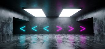 Empty Elegant Modern Grunge Dark Reflections Concrete Undergroun. D Tunnel Room With Bright White Lights And Neon Purple And Blue Arrows Background 3D Rendering stock illustration