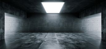 Empty Elegant Modern Grunge Dark Reflections Concrete Undergroun. D Tunnel Room With Bright White Lights Background Wallpaper 3D Rendering Illustration stock illustration