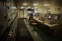 Empty Engine control room on the cargo ship royalty free stock photos