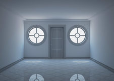 Empty entrance hall with round windows Stock Photo