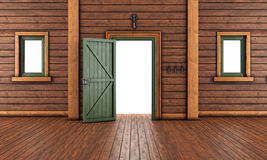 Empty  entrance room of a wooden house Stock Photos