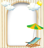 An empty entrance template with an umbrella and a foldable bench Stock Image