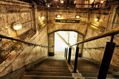 Empty entrance to bank station in the evening. Entrance to an old station subway at night Royalty Free Stock Photos