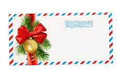 Empty envelope with red and blue borders and stamp tied with rib royalty free stock image