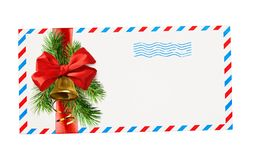 Empty envelope with red and blue borders and stamp tied with rib