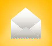 Empty envelope. On a yellow background Royalty Free Stock Photos